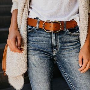 Accessories - Vegan Leather Double Buckle Belt - Brown